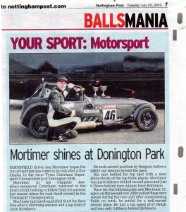 Nottingham Post 23-07-2013 Jon Mortimer Caterham Supersport