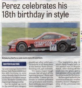 Derbyshire Times 12-10-2017 Seb Perez Ginetta GT4 Supercup