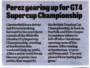 Derbyshire Times 27-07-2017 Seb Perez Seb Perez Ginetta GT4 Super Cup