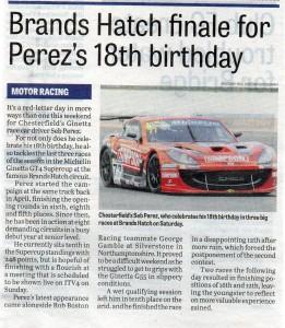 Derbyshire Times 28-09-2017 Seb Perez Ginetta GT4 Supercup