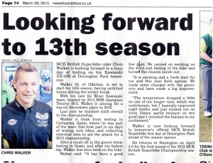 Newark Advertiser 26-03-2015 Chris Walker BSB