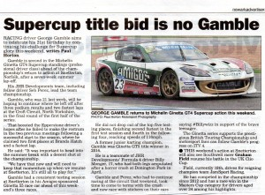 Newark Advertiser 27-07-2017 Seb Perez George Gamble Ginetta GT4 Super Cup