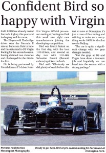Surrey Advertiser 14-08-2015 Formula E Sam Bird